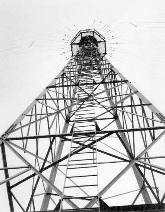 Tower for vee aerials at Makara Radio. Date unknown.