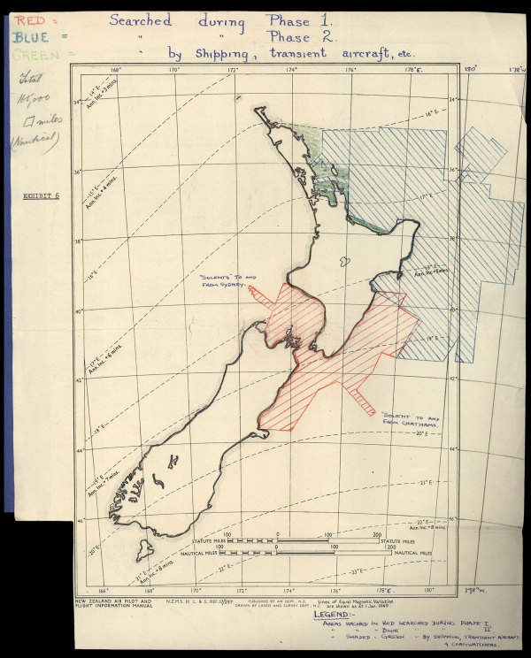 An extensive search was made by the RNZAF and civil aviation operators for the yacht Argo, and this map shows the 566,000 sq km area searched, at a cost of £70,000.
