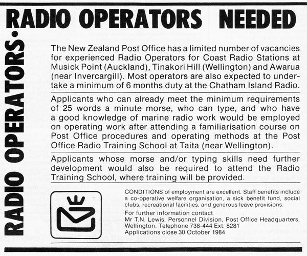 Radio operator recruitment advertisement in the September 1984 edition of the amateur radio magazine <em>Break-In</em>