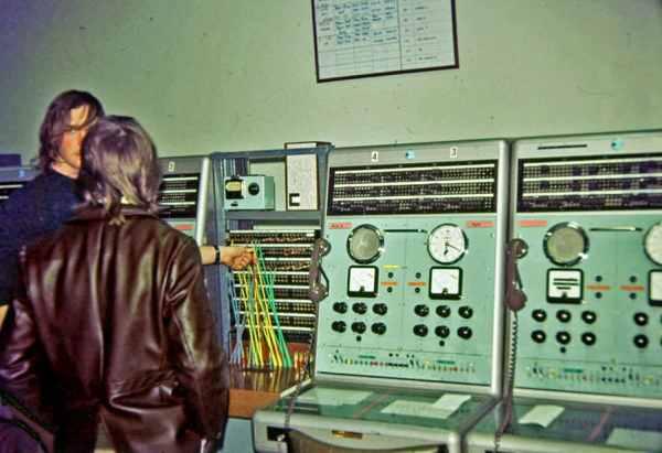Circuits at Wellington Radphones for Niue and Apia, seen during a technicians' tour of Wellington Radphones c1970