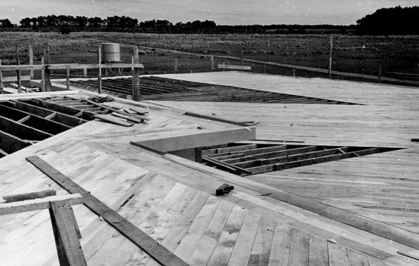 October 1951: Sarking on roof of Administration Wing at Himatangi Radio almost completed.