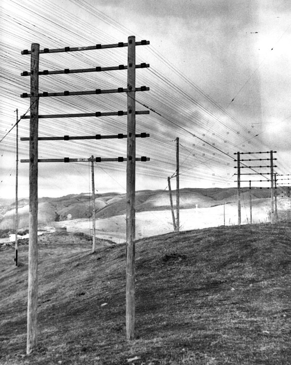Feedlines for aerials at Makara Radio. Date unknown.