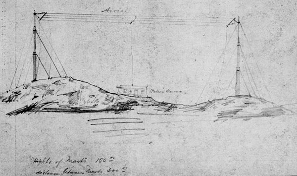 Sketch of original aerial at Wellington wireless station on Tinakori Hills