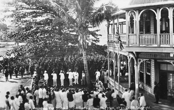 Hoisting the Union Jack at the Apia Court House in Samoa, 30 August 1914