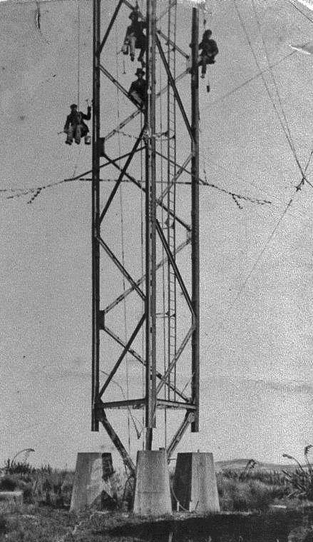Working on the mast at Awarua Radio