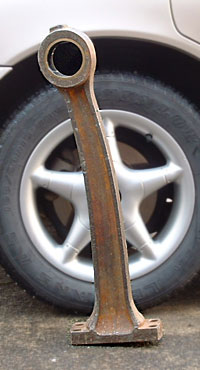Bent connecting rod from Mirrlees engine at Himatangi Radio