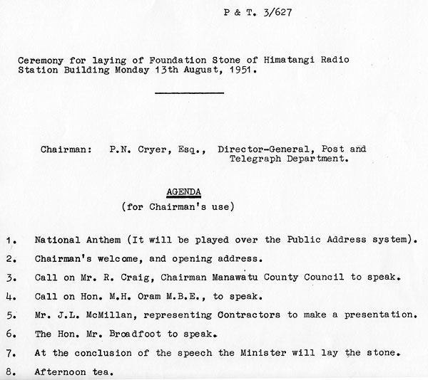 Programme notes for the opening of Himatangi Radio in 1951
