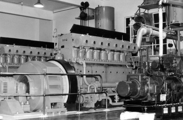 Mirrlees No 2 and the small Lister quick start generator. Date unknown.