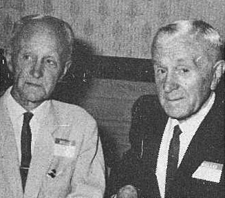 Frank Whiteman with his successor at Awarua Radio, Les Steele, photographed in December 1969 at a social gathering of former Post Office employees