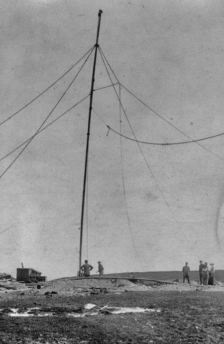 The rigging pole used to raise the radio masts at the Chatham Islands. Photo undated, but probably 1913.