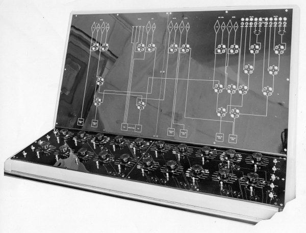 Aerial switching console, which remotely controlled switches in the antenna field