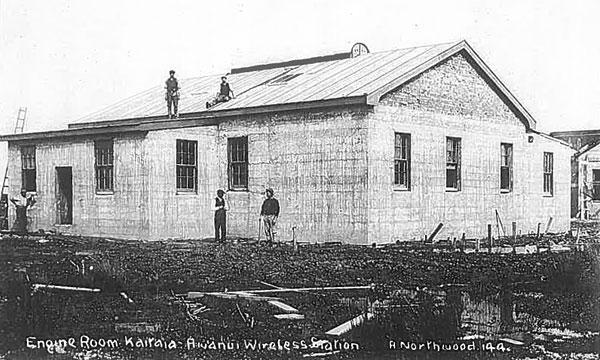 Engine house under construction at Awanui wireless station, c1912