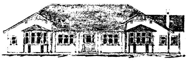 Front view, house for Officer in Charge, from original plans