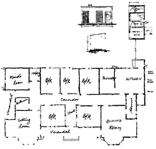 Plan of house for Officer in Charge, from original plans.