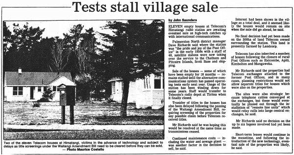 Himatangi house sales stalled - Manawatu Evening Standard - August 1988