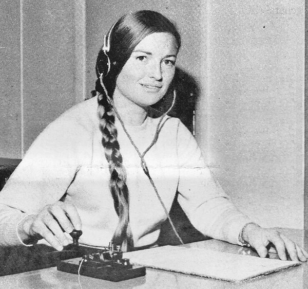 Phillippa Reynolds was the first woman to undertake a Radio Inspector's course with teh Nnew Zealand Post Office. Photo: Post Office News, October 1971