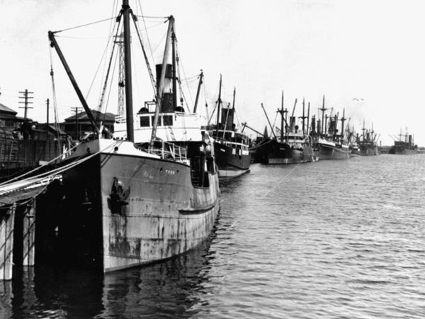 Ships at Greymouth wharf, circa 1924. `Tees' is in the foreground, followed by `Pakura' and `Gabriella'.