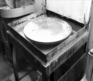 A crystal lapping wheel