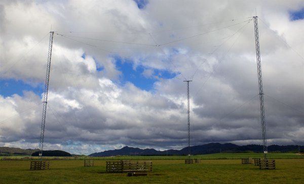 The log-periodic array at Taupo Radio's transmitter site is aimed south