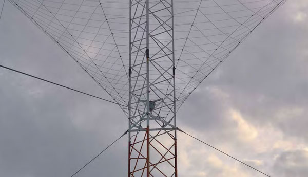 The repaired spiracone antenna at Taupo Radio ZLM's Matea site