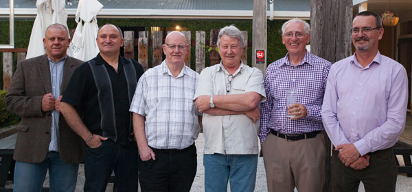 Farewell get-together in honour of radio operators Peter Baird, Allan Burgess and James Lamb, all leaving the Maritime Operations Centre / Taupo Maritime Radio ZLM