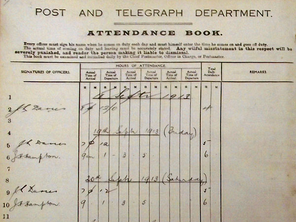 Attendance book for the first three days of operation at Chatham Islands wireless station
