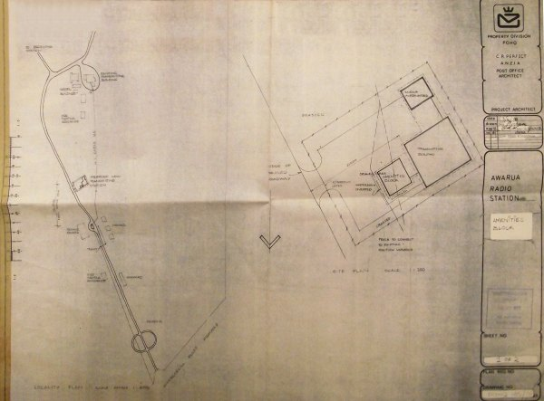 Site plan, dated 3 Apr 1978, showing the proposed ZLB transmitter building