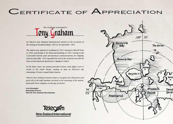 Certificate of Appreciation, closure of Auckland Radio ZLD