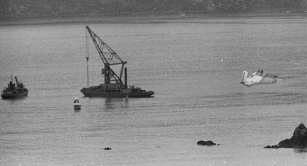 Wahine wreck, floating crane Hikitia and dredge Kerimoana