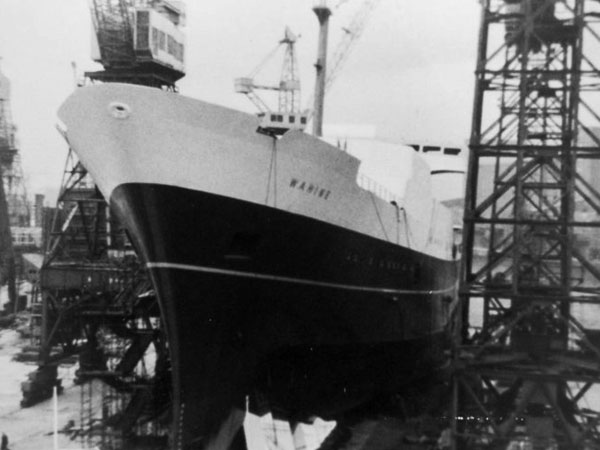 Launching of Wahine in 1966 at Fairfields (Glasgow) Ltd
