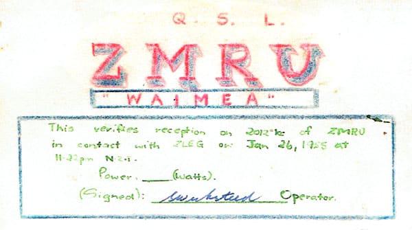 QSL card from the Union Steam Ship Company's SS Waimea