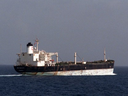 A starboard quarter view of the reflagged Kuwaiti supertanker SEA ISLE CITY underway.