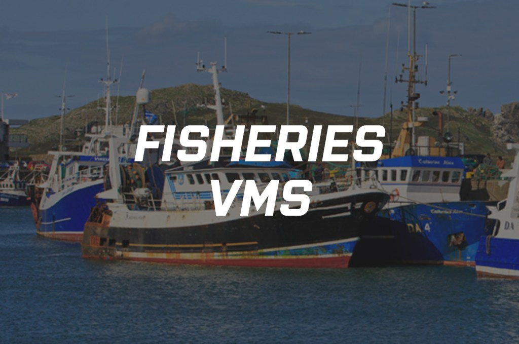 Fisheries Vessel Monitoring System logo overlaid on to a fishing boat