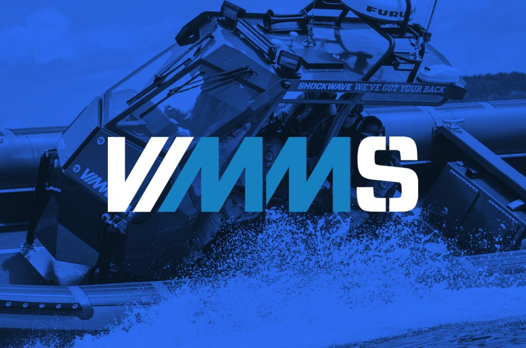 Vessel impact and motion monitoring system logo over laid on top of a military rib boat powered by shockwave
