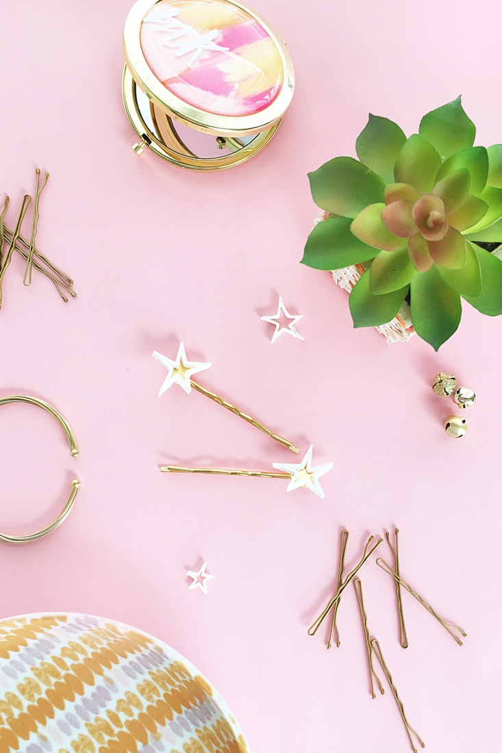 DIY Gold And White Star Bobby Pins