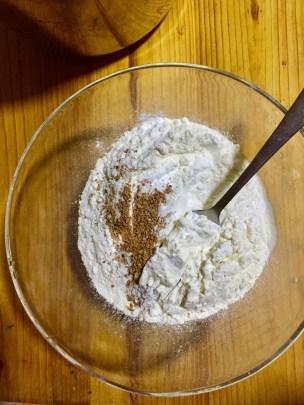 Whisk four baking soda, baking powder, cinnamon and salt