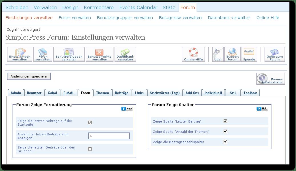 Screenshot - Simple Press Forum Administration