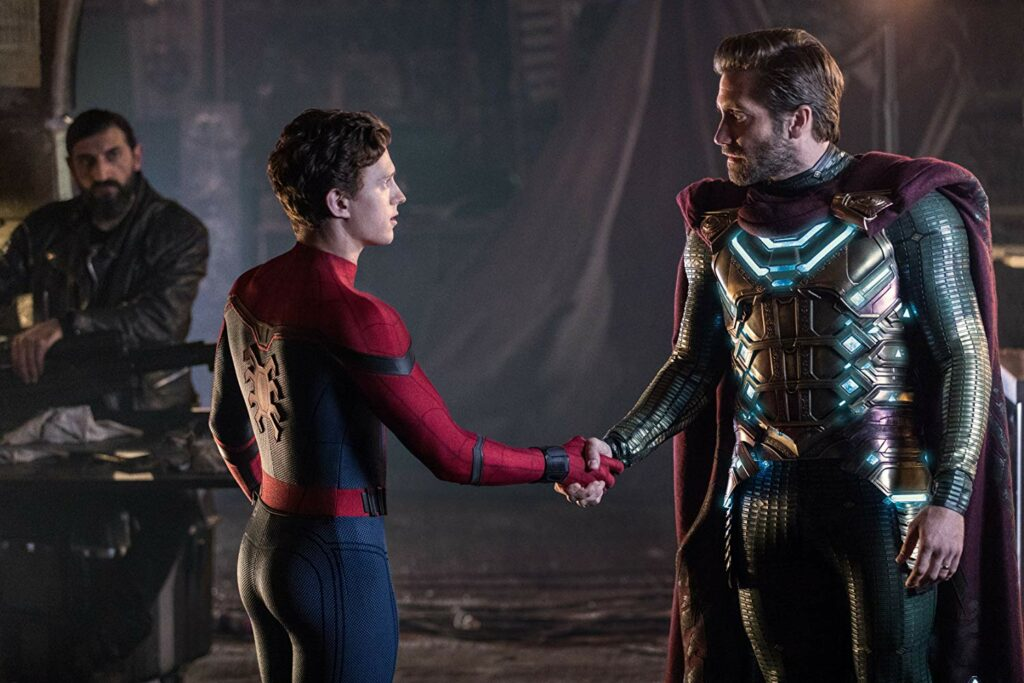 Spider-Man dan Mysterio dalam Spider-Man: Far from Home