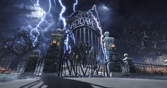 gerbang depan rumah keluarga Addams family review indonesia
