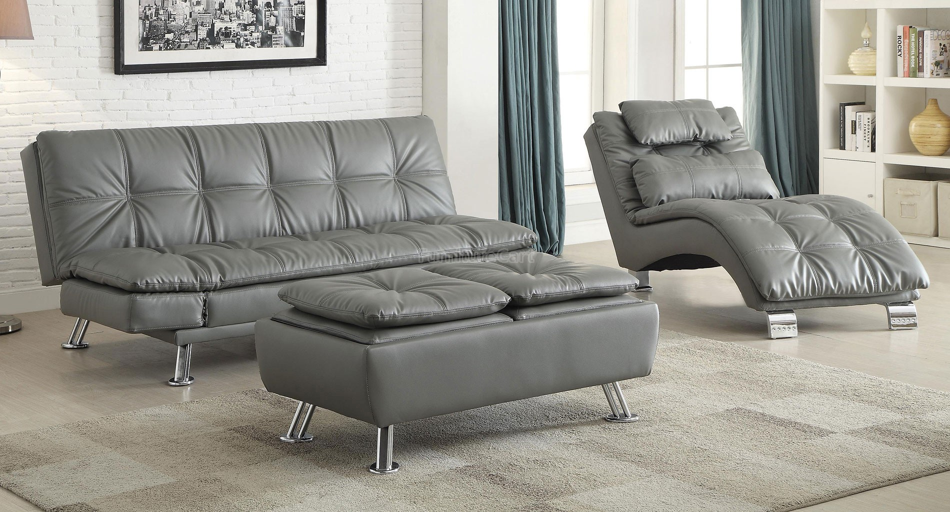 Sofa Bed Grey With Available Matching Chaise And Storage Ottoman Marjen Of Chicago Chicago