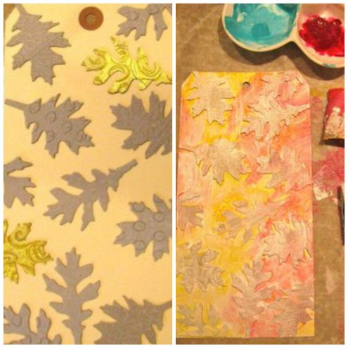 Fall Colors tag art with Tim Holtz Sizzix dies -embossing with UTEE (Marjie Kemper)