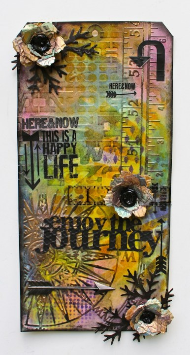 Mixed media tag with embossing and more (Marjie Kemper)