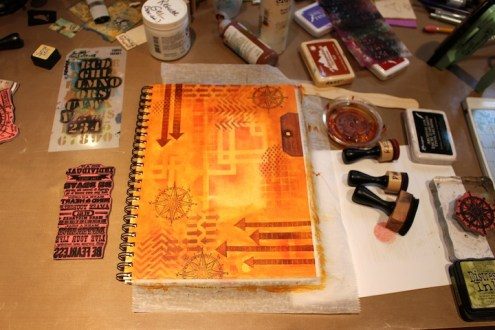 Art journal with Blended Batik technique (Marjie Kemper)