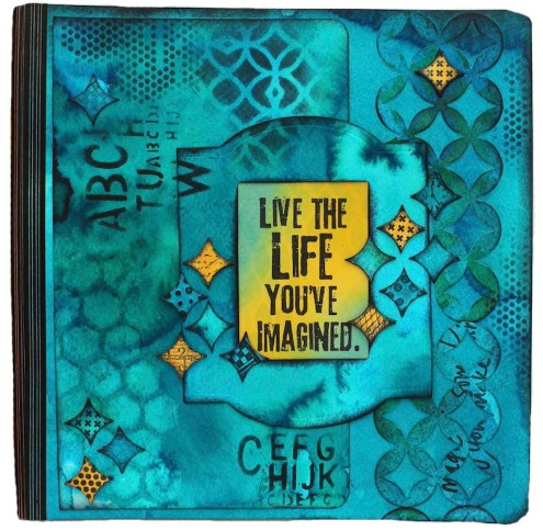 Art journaling with Sizzix Diecuts and Dylusions Ink Sprays (Marjie Kemper)