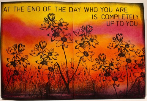 Marjie Kemper art journal - Distress Inks - At the End of the Day