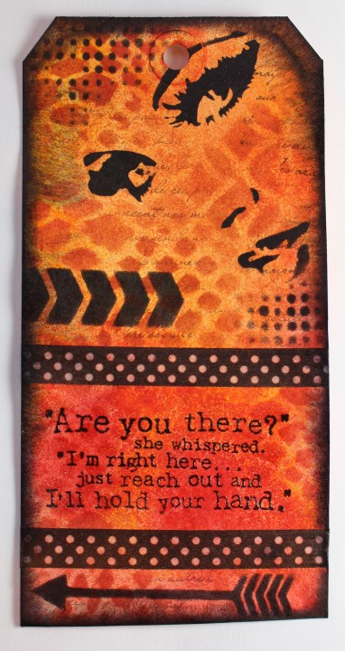 Video Tutorial - Are You There? Tag art - Marjie Kemper with DecoArt Color Misters, Washi Tape, Stamps & Stencils