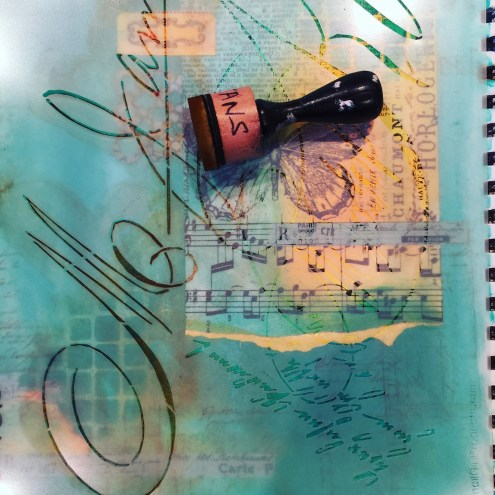 Art journal (2) with Dylusions paint, stamps, stencils and more (Marjie Kemper)