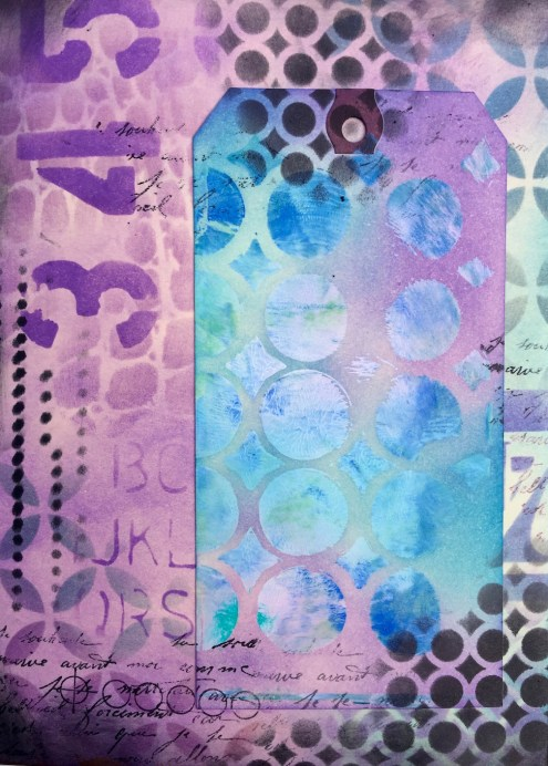 Relax art journal page (left) combining ink and paint (Marjie Kemper