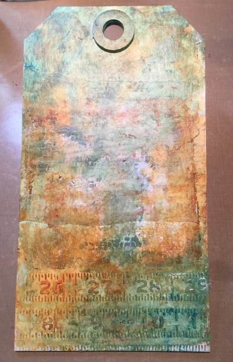 Base layers - mixed media Etcetera tag (Marjie Kemper)
