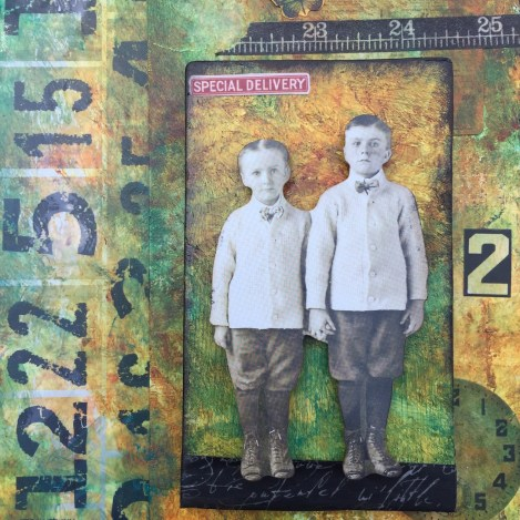 Brothers Mixed Media Collage Tag (Marjie Kemper)